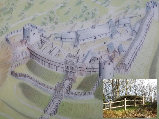 Nevern Castle as it was and as it stands today.